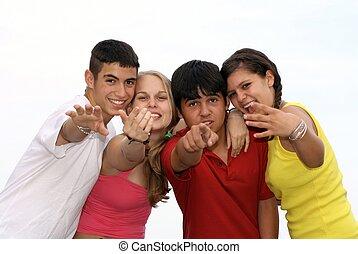 appeler geste, gosses, groupe, pointage, heureux