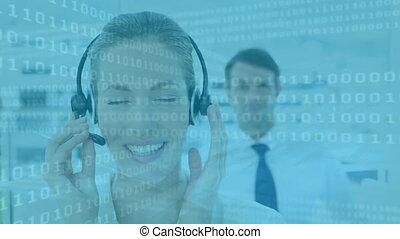 appeler, groupe, offic, animation, multi-ethnique, ecouteurs...