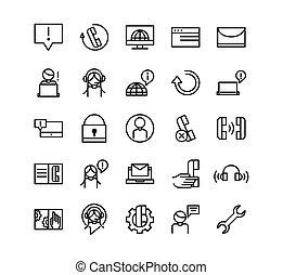 appeler, icônes, ligne médiane, service, collection, business