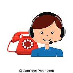 appeler, opérateur, avatar, centre