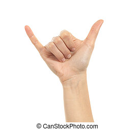appeler, shaka, ou, signe main