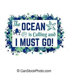 appeler, typographie, conception, aller, devoir, océan, lettrage