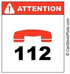 appeler, urgence, 112., vector.