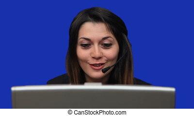 appeler, utilisation, centre, ordinateur portable, ouvrier