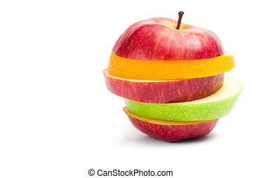 appelplakken, op, vorm, fruit, afsluiten, aanzicht