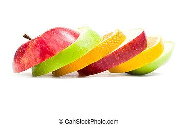appelplakken, op, vorm, fruit, afsluiten