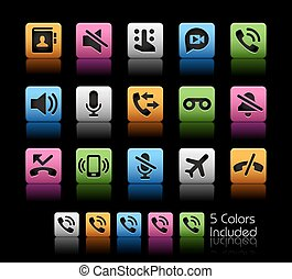 appels téléphoniques, interface, icônes