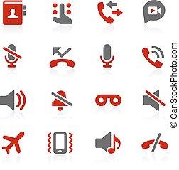 appels téléphoniques, interface, vecteur, icônes