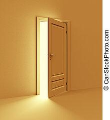 appelsin, rum, hos, åbn, door., 3, illustration
