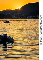 appelsin, solnedgang, hen, den middelhavet hav