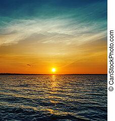 appelsin, solnedgang, hen, mørke, vand