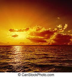 appelsin, solnedgang, hen, vand