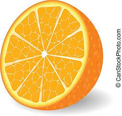appelsin, vektor, frugt
