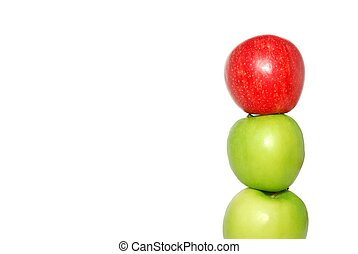 appeltjes , appel, bovenzijde, rood, stapel