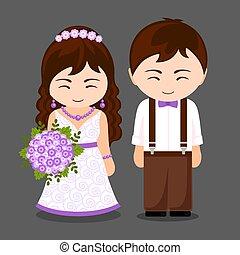 appena sposato, coppia.