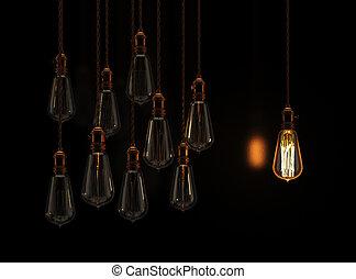 appendere, lampadine, ardendo, uno, luce