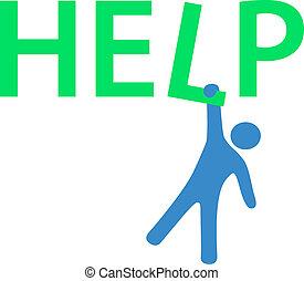 appendere, uomo, bisogno, aiuto, informazioni