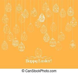 appendere, uova pasqua, ornamento, scheda