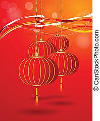 appendere, vettore, lanterna cinese