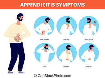 Appendicitis symptoms. Abdominal pain disease, diarrhea nausea vomiting. Stomach gastric spasms colic, emergency patient vector illustration