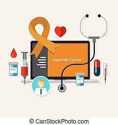 appendix cancer appendicitis medical orange ribbon treatment...