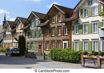 Appenzell, Switzerland - Wooden houses in the local style in...