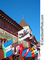 Appenzell, Switzerland - Decorated historical centre of the...