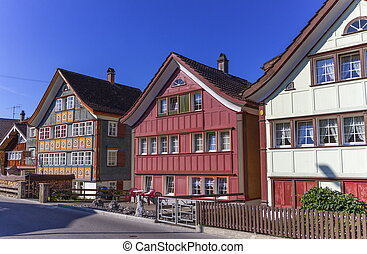 Appenzell traditional houses, Switzerland - Appenzell...