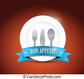 appetit, conception, bon, illustration, restaurant