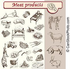 appetit, producten, vlees, bon