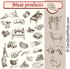 appetit, produkter, kött, bon