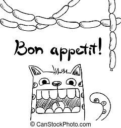 appetit., sketchy, saucisses, bon, chat