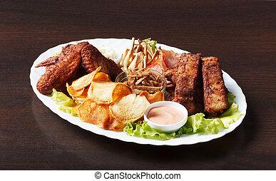 appetitoso, santoreggia, spuntini, servito, con, salsa