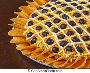 """Appetizer - """"Cake"""" of olives, mayonese, chips for appetizer..."""