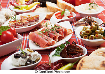 Appetizer food - Antipasto, tapas, various appetizer food...