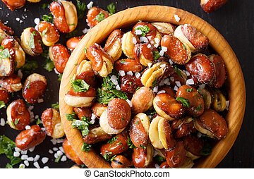 appetizer of crispy fried salted broad beans in a bowl...