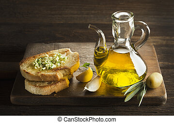 Appetizer of olive oil and bread