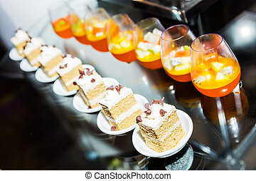 Appetizer of thai dessert on buffet line