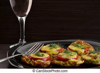 appetizer of zucchini tomato