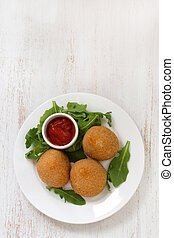 appetizer on white plate on white background