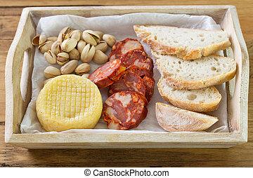 appetizer on wooden desk