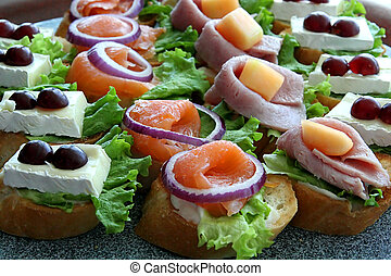Appetizer - A selection of appetizers on a buffet table
