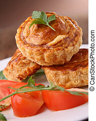gourmet baked puff and salad