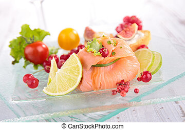 appetizer, salmon and vegetables