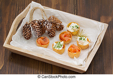 appetizer salmon with fresh cheese