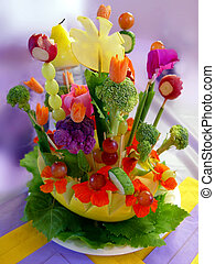 Appetizer - Beautiful arrangement of food and flowers