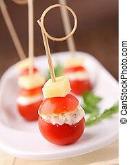 appetizer, tomato finger food