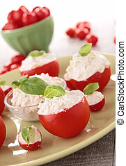 appetizer, tomato stuffed with cheese