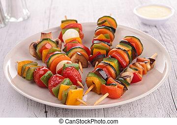 appetizer, vegetables on wooden sticks