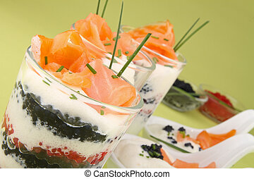 appetizer, verrine - appetizers, verrine of salmon and ...